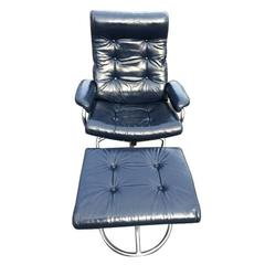 Leather Plycraft  Recliner Lounge Chair and Ottoman in Blue