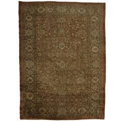 Antique Persian Sultanabad with Modern Style in Warm Neutral Colors