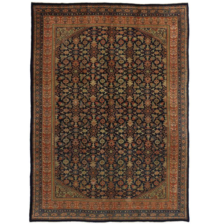 Antique Persian Kurd Rug with Modern Style and Herati Design