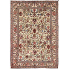 Vintage Persian Tabriz Rug with Vivid, Traditional Colors and All-Over Design