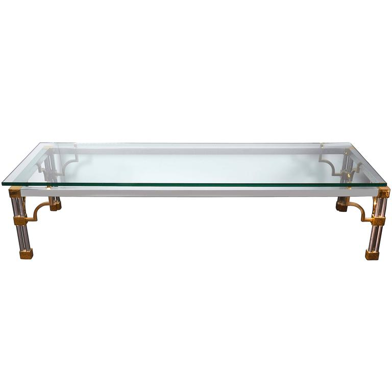 1960s Chrome Coffee Table With Brass Fretwork Accent