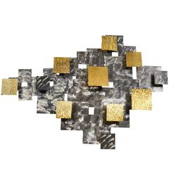 Curtis Jere Style Brutalist Geometric Wall Sculpture in Steel and Brass