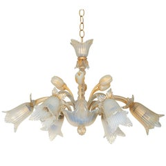 Opaline Murano Glass Floral Chandelier with Gold Flakes