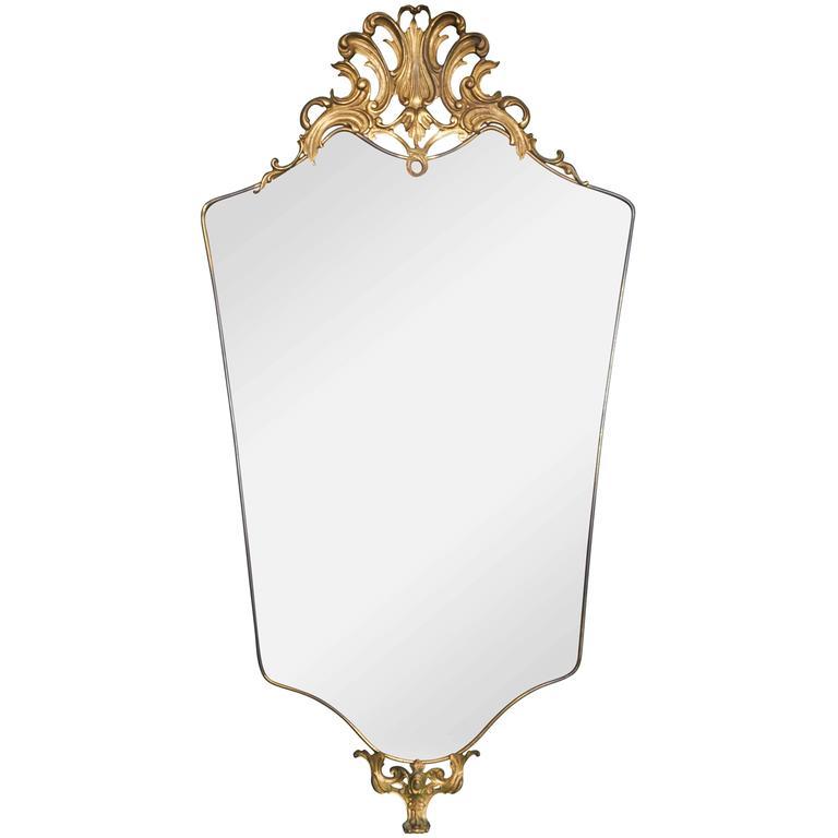 Mid-Century Italian Brass Shield Frame Mirror