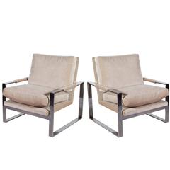 Pair of Milo Baughman Velvet Lounge Chairs on Cube Chromed Steel Frames
