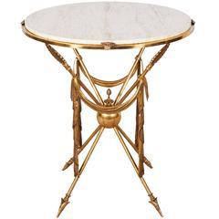 Mid-Century Italian Brass Martini Table with Arrow Motif Base