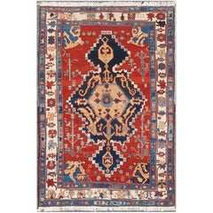Vintage Turkish Tribal Rug with Jewel-Toned Central Medallion and Vivid Colors