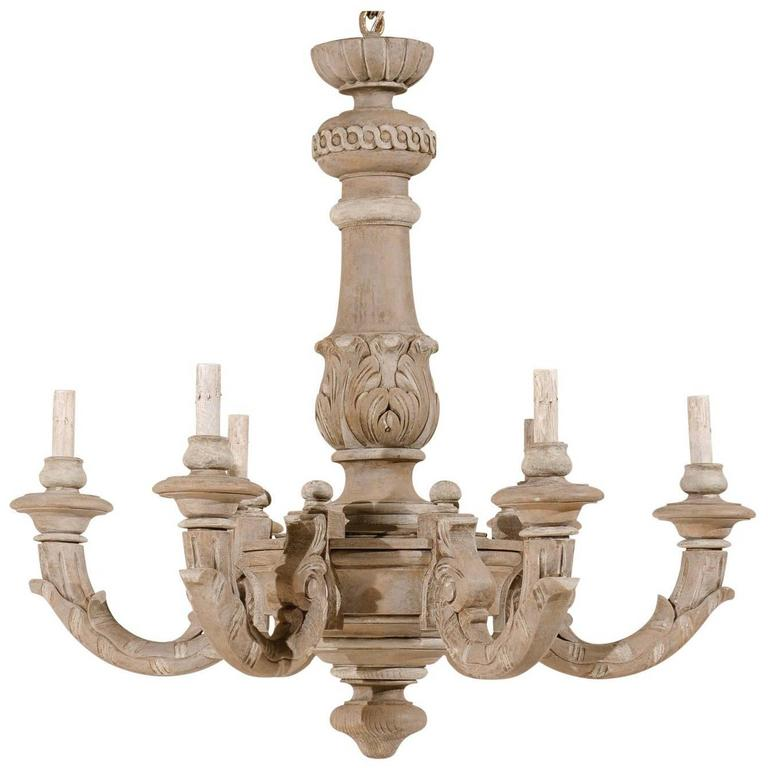 French six light carved wood chandelier of grey green color with french carved and painted taupe colored chandelier with light grey accents aloadofball Gallery