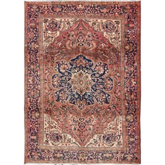 Vintage Heriz Persian Rug with Stylized Geometric Medallion in Rust and Blue