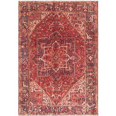 Vintage Heriz Persian Rug with Stylized Geometric Medallion in Rust & Denim Blue