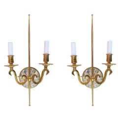 High Style Double Arm Wall Sconce with Solid Brass and Rock Crystal Stone