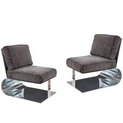 Pair of Custom Polished Aluminum and Shearling Lounge Chairs