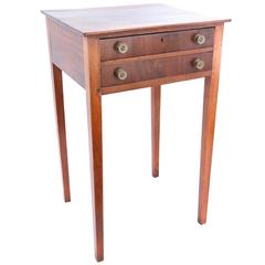 Early 19th Century New England Nepplewhite Two-Drawer Side Table