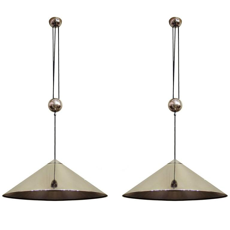 Pair of Large Adjustable Counterweight Pendants Lights by Florian Schulz Germany