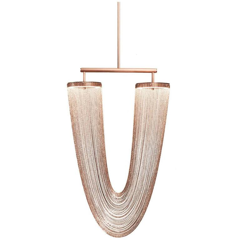 Otero Small Chandelier In Satin Copper with Copper Chains by Larose Guyon