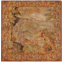French Tapestry with Richly Decorative Flora Border and Waterfront Scene