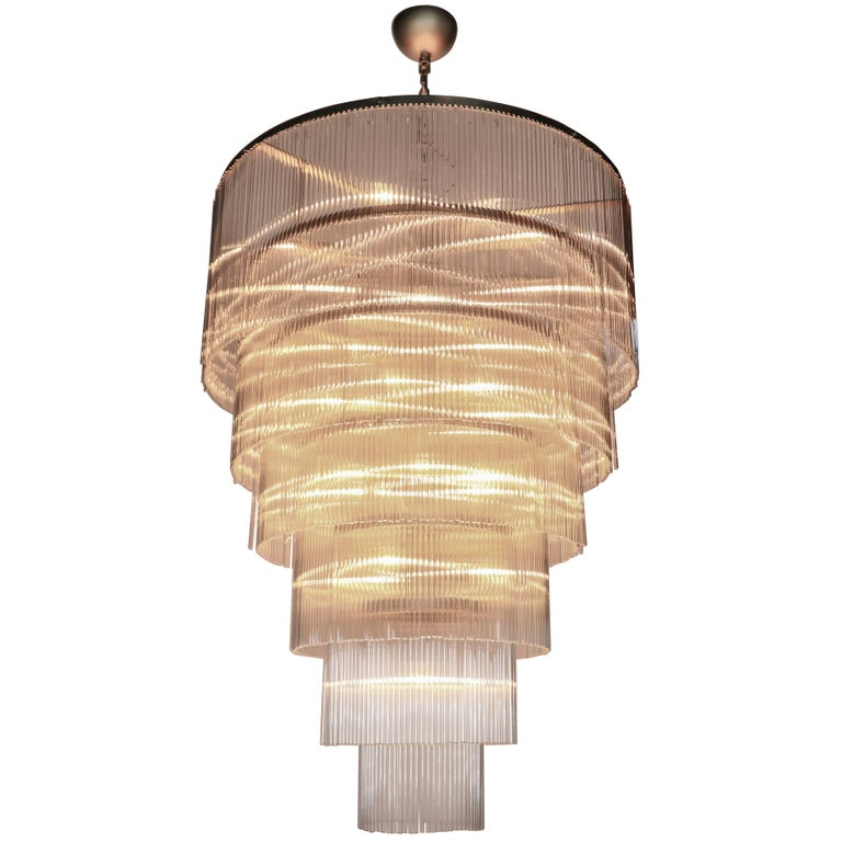 Six-Tiered Glass Rod Chandelier, 1970s For Sale