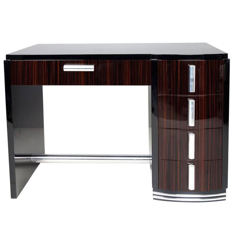 art deco style desk with macassar drawers for sale at 1stdibs