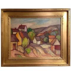 """Houses on Hill"" Painting"
