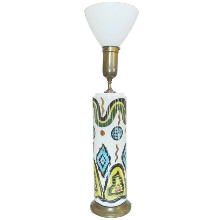 Hand-Painted California Pottery Table Lamp by Sascha Brastoff