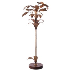 1940s Gilded Brass and Wood Floor lamp Attributed to Maison Jansen