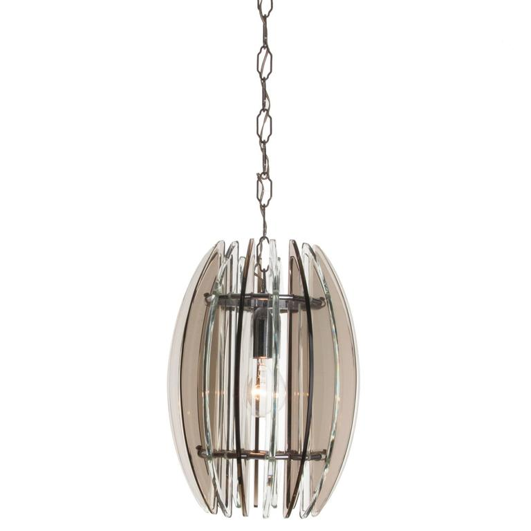 1970s Glass and Chrome Pendant by Veca