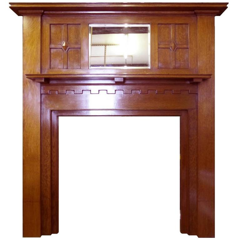 Antique Edwardian Arts and Crafts Oak Mantel Fireplace Surround and Mirror 1 - Antique Edwardian Arts And Crafts Oak Mantel Fireplace Surround