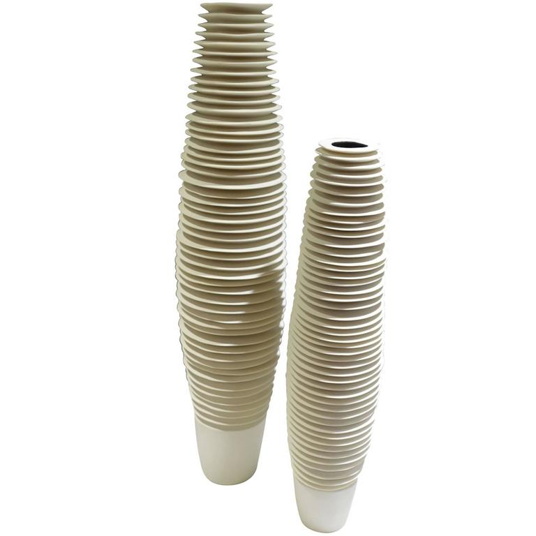 Set Of Two White Ribbed Vases Italy Contemporary For Sale At 1stdibs