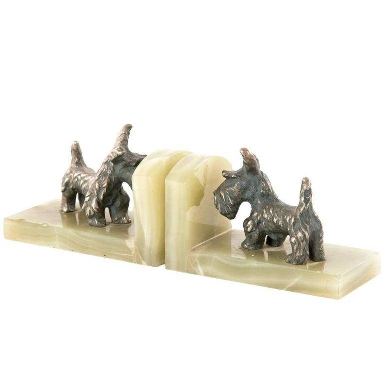 Bronze and Onyx Scottish Terrier Bookends For Sale