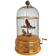 Antique Bontems Mechanical Singing Birds Cage Automaton Musical Box