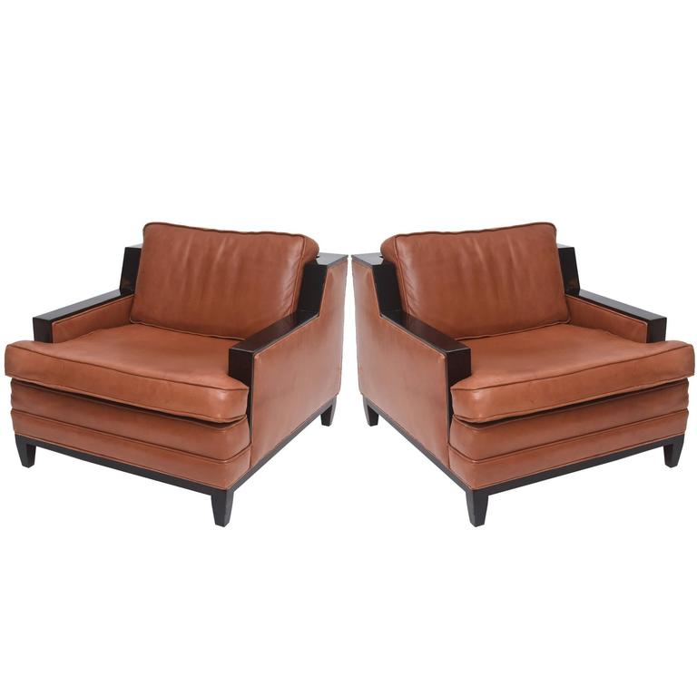 Pair of French Modern Leather Club Chairs Attributed to Jacques Adnet, 1940s