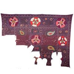 19th Century Uzbek Shakrisabz Suzani Fragment