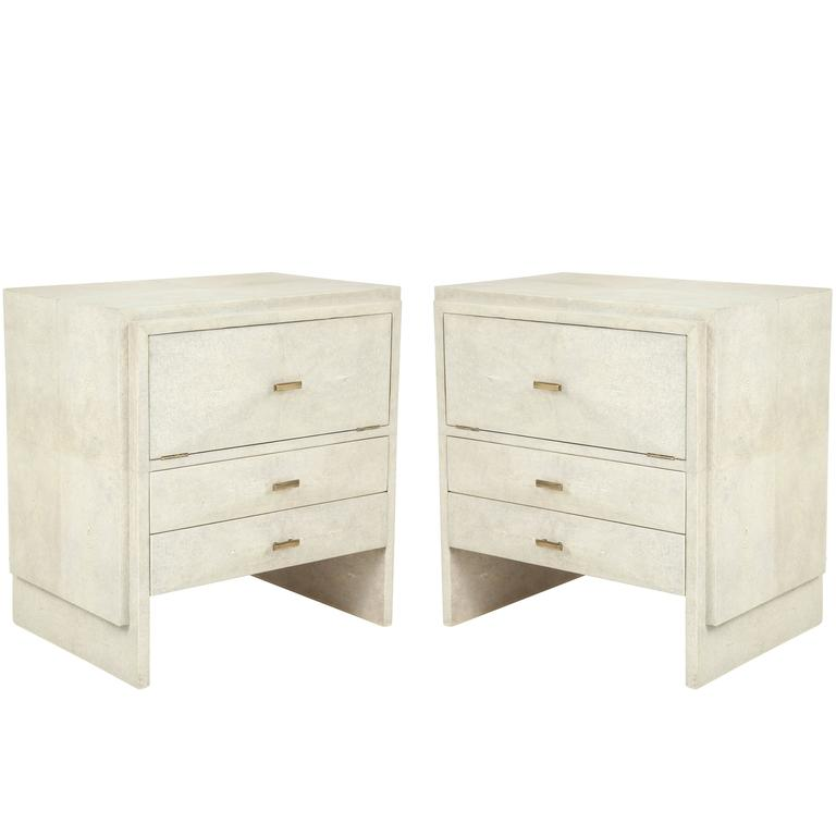 Shagreen Side Tables or Nightstands, France For Sale