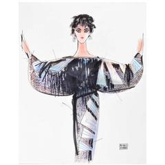 Michaele Vollbracht Fashion Drawing of Liz Taylor