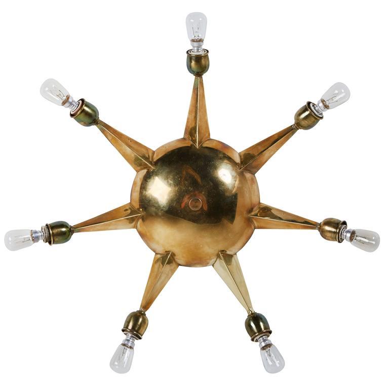 Italian Seven-Arm Brass Flush Mount Ceiling Light 1