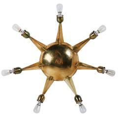 Italian Seven-Arm Brass Flush Mount Ceiling Light