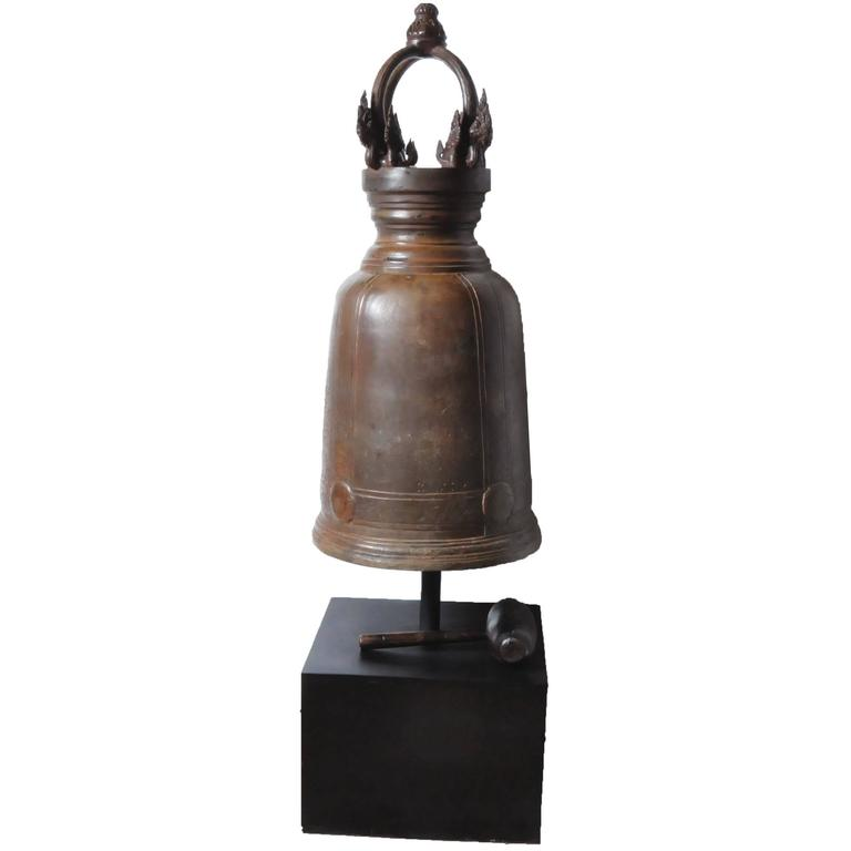 Bronze Thai Temple Bell with Engraving