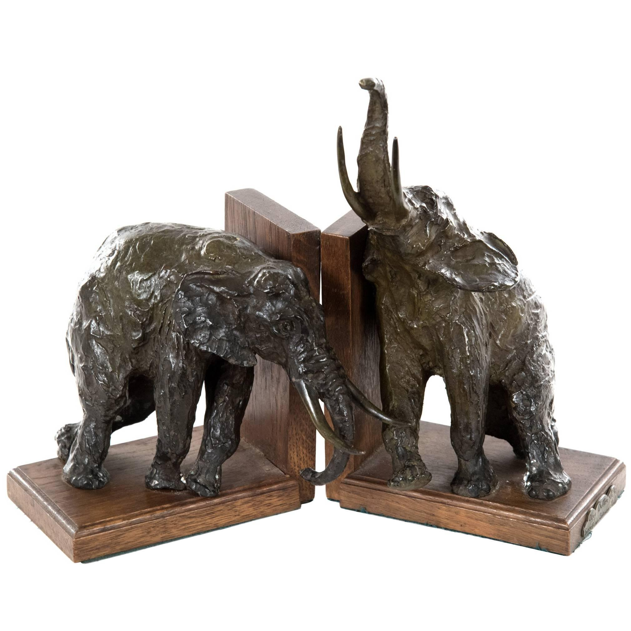 French Bronze Elephant Bookends