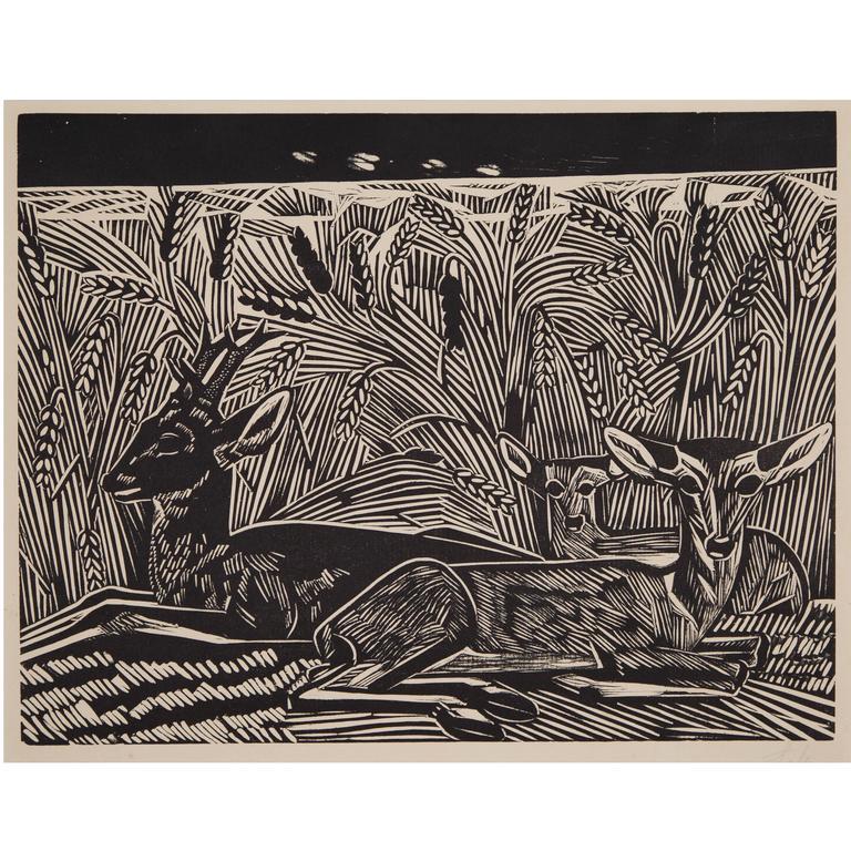Axel Salto, Deer in Cornfield, Woodcut, Denmark, 1928