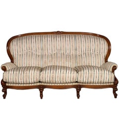 19th Century Venetian Baroque Sofa, Settee, good Upholstery, Hand-Carved walnut