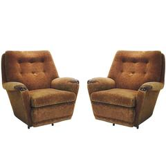 Pair of Vintage Italian Mohair Lounge Chairs