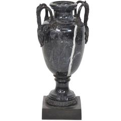 Impressive Pair Black and White Marble Urn with Bronze Shell Motif Handles