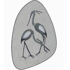 Mid-Century Art Wall Plaque Crane Birds German Drosselbach