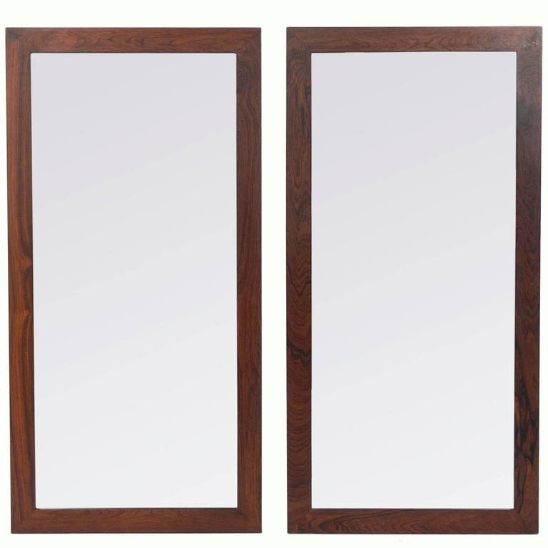 Pair of Danish Modern Rosewood Mirrors For Sale