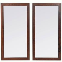 Pair of Danish Modern Rosewood Mirrors