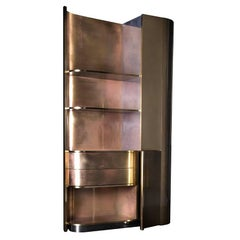 21st Century Tall Brass Cabinet with an Art Deco Spirit and Functional Design