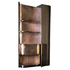 Tall Brass Cabinet with an Art Deco Spirit and Functional Design