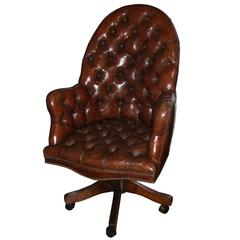 Classic English Tufted and Adjustable Swivel Desk Chair