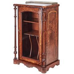 19th Century High Victorian Burr Walnut Music Cabinet