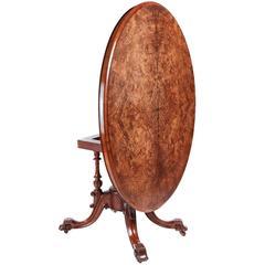 19th Century Victorian Inlaid Burr Walnut Oval Table